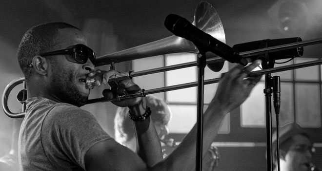 Trombone Shorty & Orleans Avenue performing at 2014's Das Zelt Musik Festival in Germany. © Jörgens