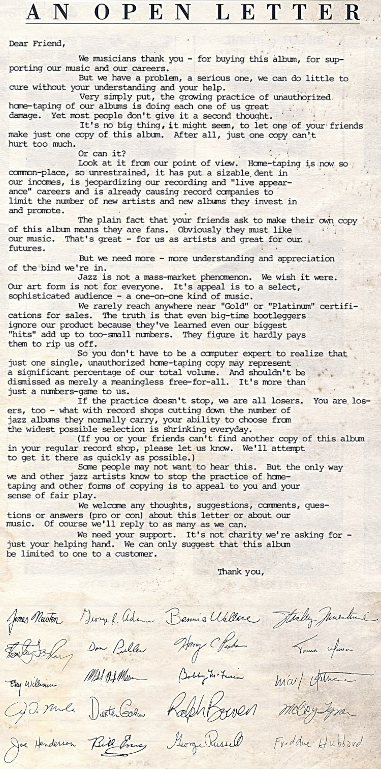 Jazz Musician's Letters To Fans